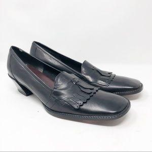 ETIENNE AIGNER Parlay Black Leather Heels in 8N